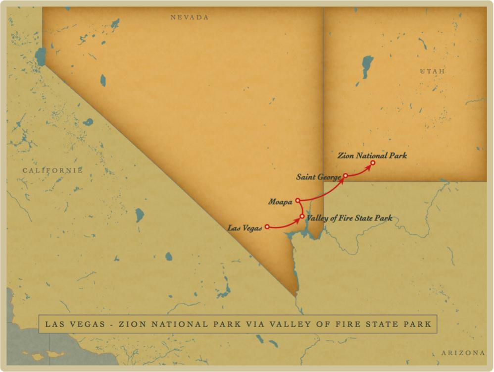 Las Vegas - Zion National Park via Valley of Fire State Park et Moapa Valley