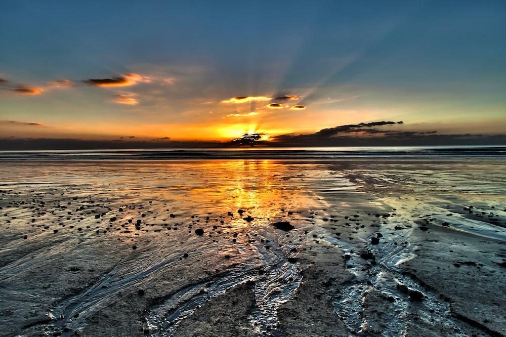 Grandes marées, baie d'Audierne, Plovan, Bretagne, coucher de soleil