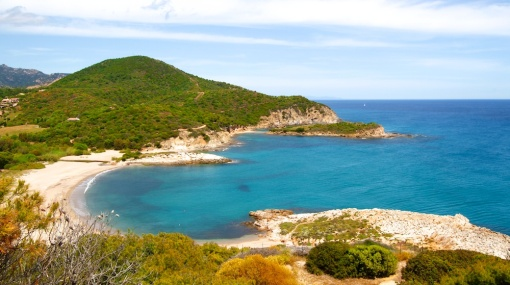 Spiaggia di Su Portu depuis la Torre di Chia, Domus de Maria, Sardaigne, Sardinia, Sardegna