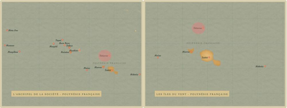 carte, archipel de la Société, îles du Vent, Polynésie française