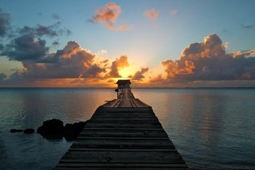 ponton, lagon, paradis, Ahe, Tuamotu, Polynésie
