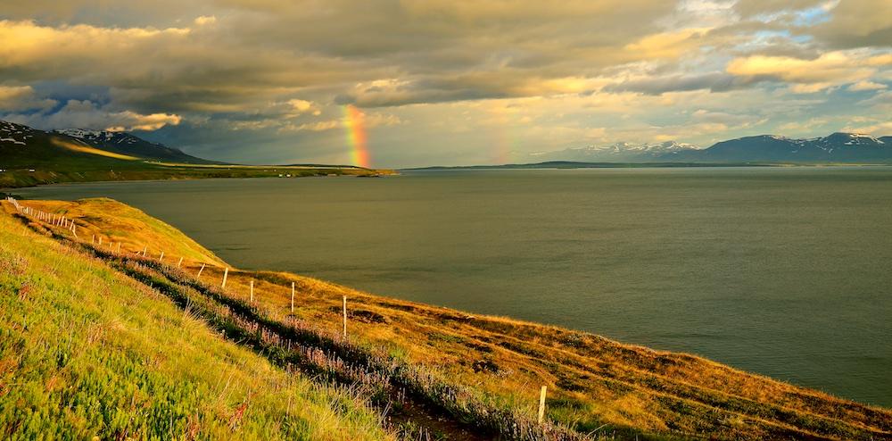 arc-en-ciel, fjord, Islande, paysages