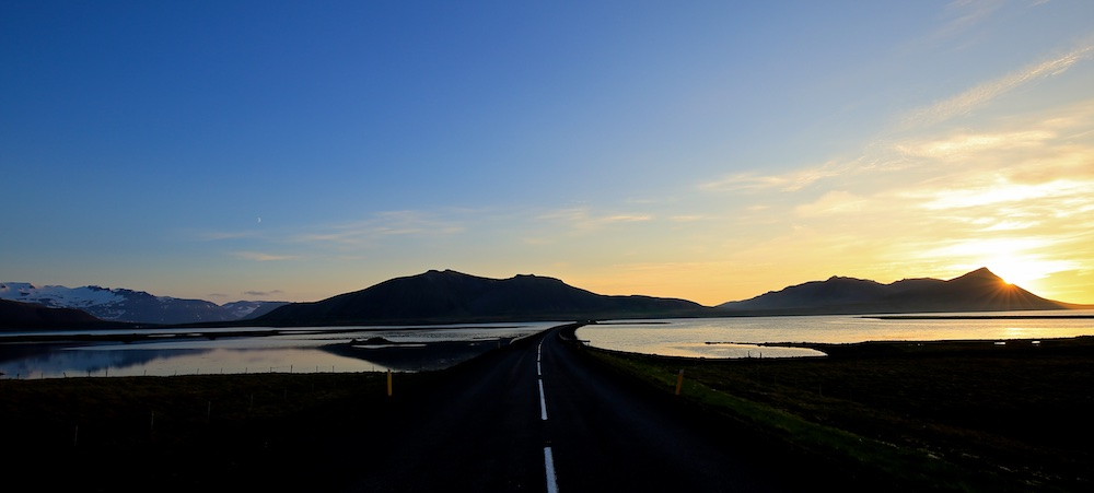 Soleil de minuit, midnight sun, Snaefellsnes, Islande, Iceland, paysages, landscapes