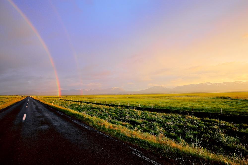 Double rainbow, Iceland, Islande, double arc-en-ciel, arc-en-ciel secondaire, paysages, landscapes