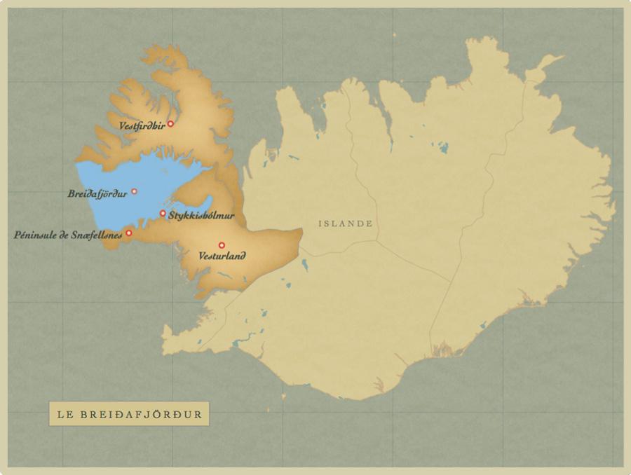 Map of Breidafjordur, Iceland