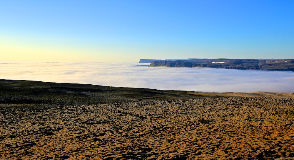 Brume de mer, Latrabjarg, Islande