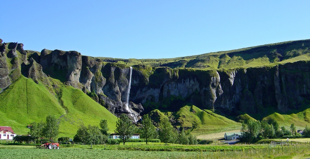 ferme, cascade, Islande