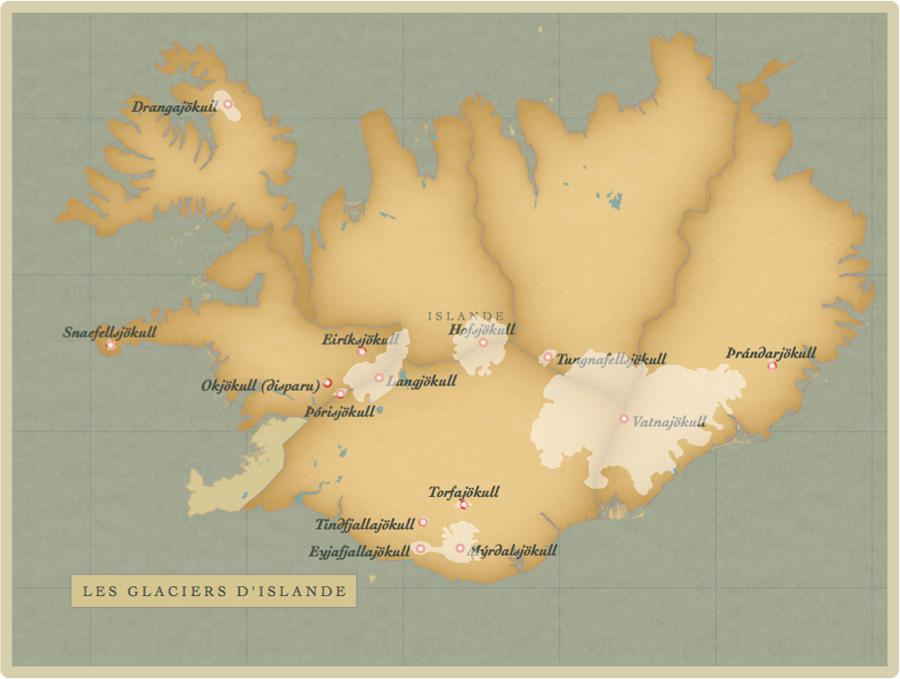 carte, glacier, Islande