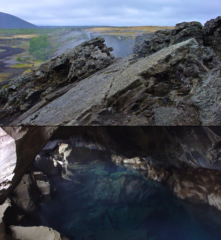 Grjotagja, grotte, faille, Islande