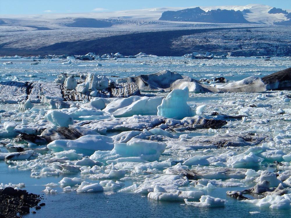glace, iceberg, Islande, paysage