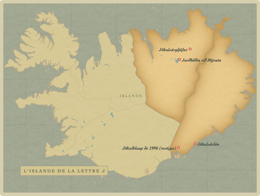 carte, Islande, lettre J