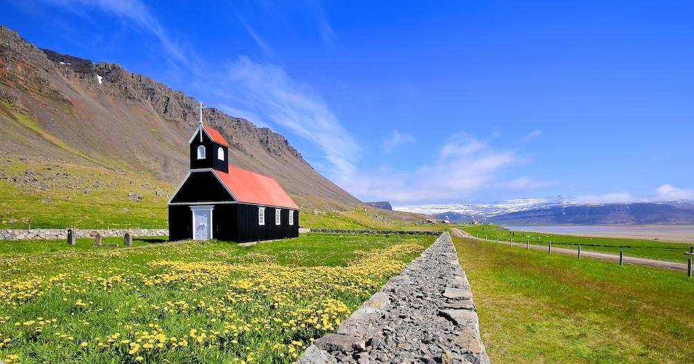 Raudisandur, église, Islande, paysages, saurbaejarkirkja