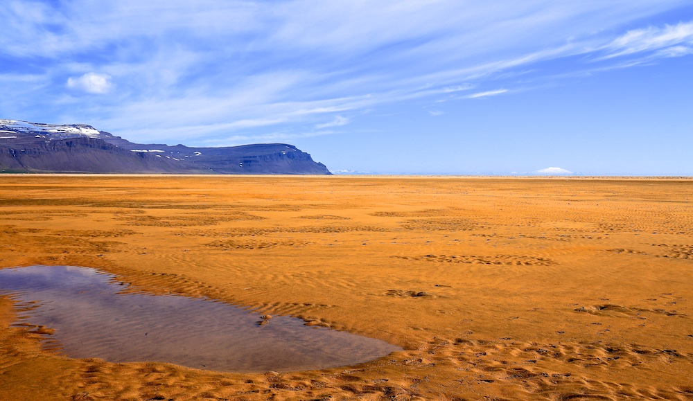 Plage, sable rouge, Islande, Raudisandur, Raudasandur, paysages
