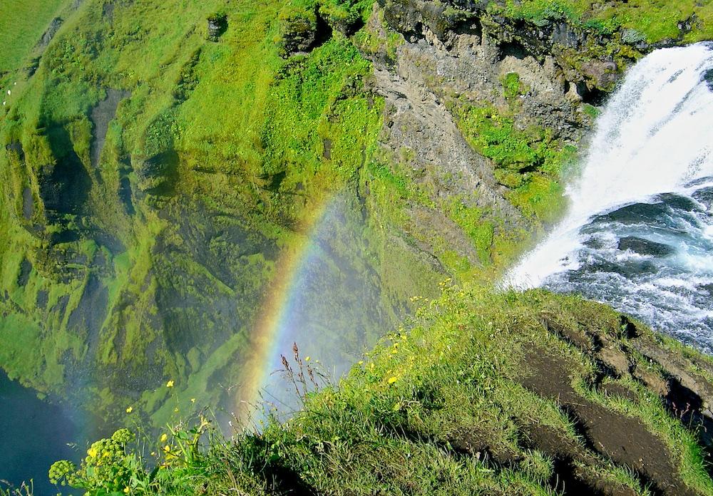 skogafoss, cascade, arc-en-ciel, Islande