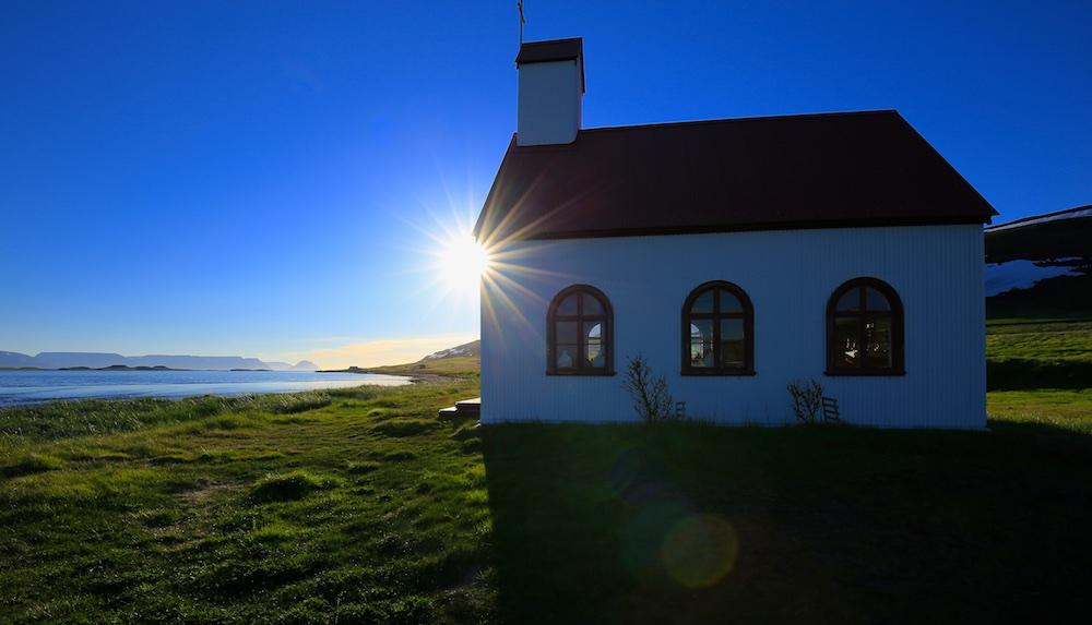 fjord, église, paysage, Islande, Unadsdalur